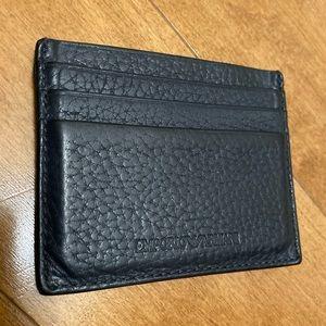 Emporio Armani Leather Card Holder - Dark Gray